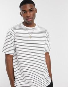 Белая футболка в темно-синюю полоску Topman-Белый
