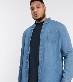 Светло-синяя джинсовая рубашка Burton Menswear Big & Tall-Синий