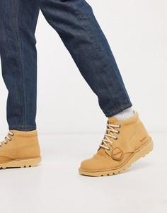 Бежевые высокие ботинки из нубука Kickers-Бежевый
