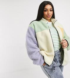 Плюшевая куртка колор блок с высоким воротником Daisy Street Plus-Мульти