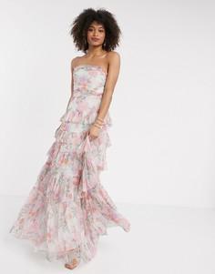 Платье-бандо макси из тюля с цветочным принтом Anaya With Love-Розовый