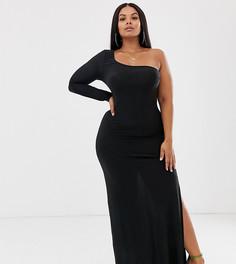 Черное платье макси на одно плечо с разрезом до бедра Club L London Plus-Черный