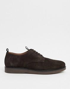 Коричневые замшевые туфли на шнуровке H by Hudson-Коричневый