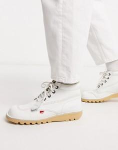 Высокие кожаные ботинки белого цвета Kickers-Белый