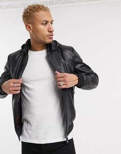 Черная куртка из искусственной кожи со съемным капюшоном Armani Exchange-Черный