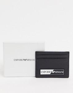 Черная кредитница с прорезиненным логотипом Emporio Armani-Черный