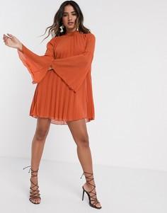 Плиссированное платье мини А-силуэта рыжего цвета ASOS DESIGN-Красный