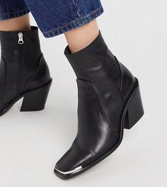 Черные кожаные ковбойские ботинки с квадратным носком Chio-Черный
