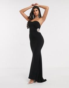 Черное платье макси со стразами Club L-Черный