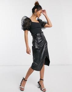 Черная юбка-карандаш из искусственной кожи In The Style x Billie Faiers-Черный