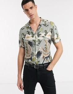 Серая рубашка с короткими рукавами и принтом AllSaints-Серый