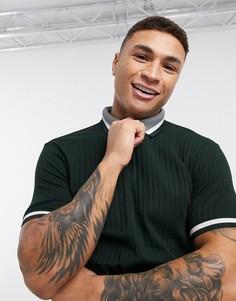Черная футболка-поло в рубчик Burton Menswear-Черный