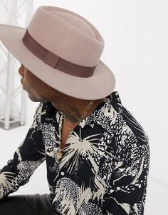 Бежевая шляпа с широкими полями ASOS DESIGN-Коричневый