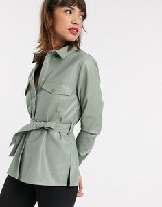 Шалфейно-зеленая рубашка из искусственной кожи с поясом Stradivarius-Зеленый