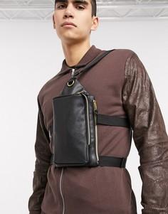 Черная сумка через плечо из искусственной кожи с двойным ремешком на пояс ASOS DESIGN-Черный
