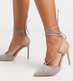 Серые туфли на каблуке с завязками Public Desire Wide Fit-Серый