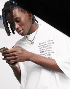 Oversized-футболка с принтом на груди и спине ASOS DESIGN-Белый