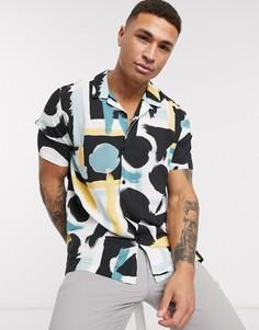 Рубашка с короткими рукавами и абстрактным принтом Topman-Черный