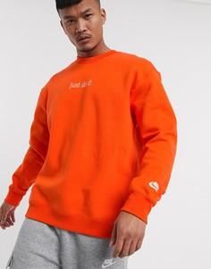 Оранжевый свитшот с круглым вырезом Nike Just Do It