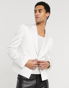 Белый атласный пиджак скинни ASOS DESIGN
