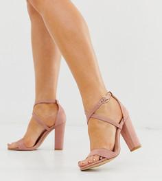 Босоножки на каблуке для широкой стопы Glamorous-Розовый