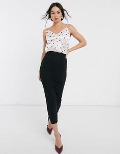 Черная трикотажная юбка-карандаш мидакси ASOS DESIGN-Черный