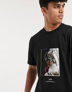 Свободная футболка с короткими рукавами и принтом ASOS WHITE-Черный