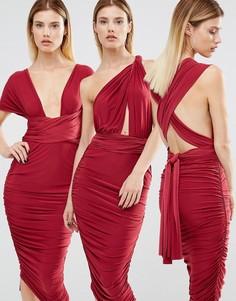 Платье-трансформер миди со сборками Club L-Красный