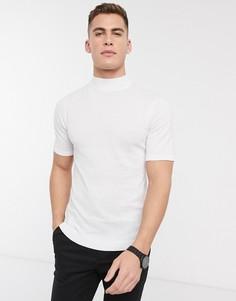 Белая трикотажная футболка с высоким воротом ASOS DESIGN-Белый