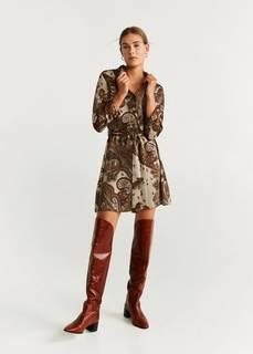 Принтованное платье-рубашка - Versalle Mango