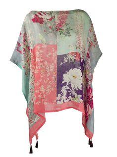 Etro пончо с цветочным принтом