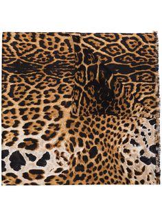 Saint Laurent платок с леопардовым принтом
