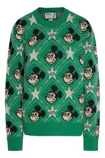 Зеленый джемпер с узором Disney x Gucci