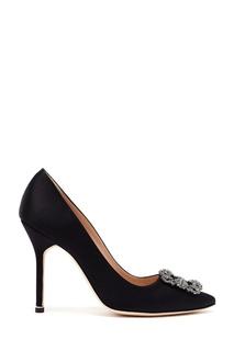 Черные атласные туфли с кристаллами Hangisi 105 Manolo Blahnik
