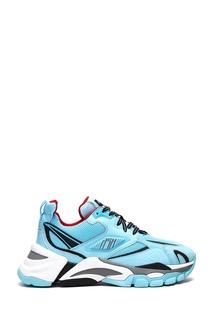 Бирюзовые кроссовки с черно-белыми вставками Ash