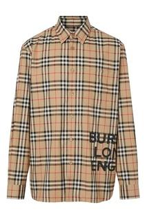Бежевая рубашка в клетку с принтом Burberry