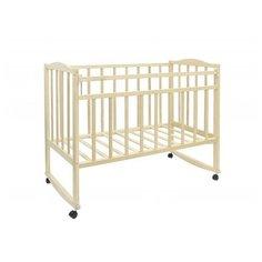 Кроватка Волжская деревообрабатывающая компания Кр1-02м (качалка), на полозьях слоновая кость