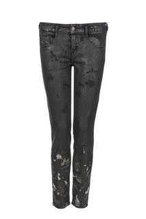 Черные зауженные брюки из денима Diesel