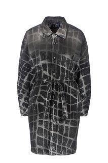 Серое джинсовое платье-рубашка Diesel