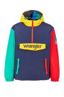 Синяя утепленная куртка-анорак с капюшоном Wrangler
