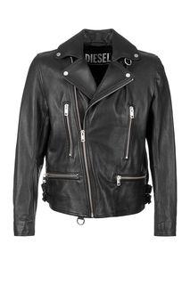 Черная кожаная куртка косуха Diesel