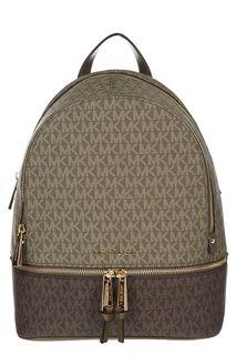 Рюкзак цвета хаки с монограммой бренда Rhea Zip Michael Michael Kors