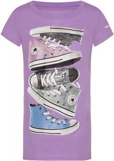 Футболка для девочек Converse Shiny Sneaker Stack Tee, размер 152