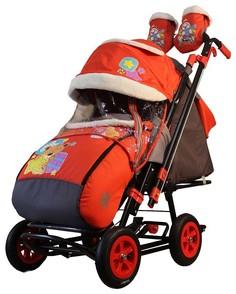 Санки-коляска SNOW GALAXY City-2 Мишка со звездой на красном с надувными колесами