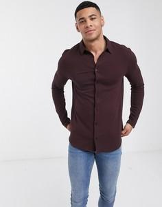Бордовая рубашка с длинными рукавами River Island-Красный