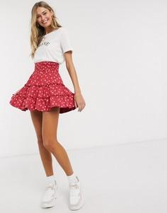 Розовая ярусная мини-юбка в горошек ASOS DESIGN-Мульти