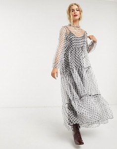 Свободное платье макси в горошек с бантом и ярусной юбкой DREAM Sister Jane-Черный
