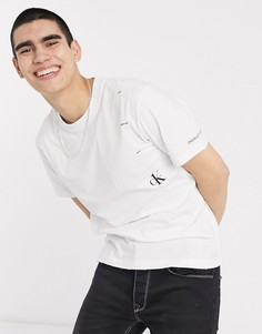 Белая футболка с цветочным принтом Calvin Klein Jeans CK1-Белый