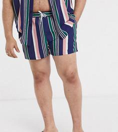 Короткие шорты для плавания от комплекта в разноцветную полоску ASOS DESIGN PLUS-Мульти
