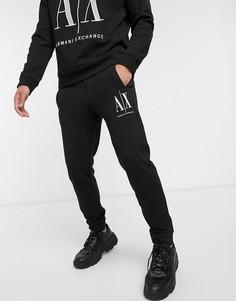 Черные джоггеры с крупным логотипом Armani Exchange Icon-Черный
